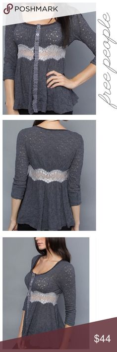 """Free People Gray Crepe Lace Cardigan Top Buttons S Sweet and sexy crepe lace lightweight cardigan by Free People. Rich gray with crisp white lace and darling buttons. Size Small. Underarm to underarm: 21"""" Length: 31"""" Excellent condition, no flaws. Free People Tops Tunics"""