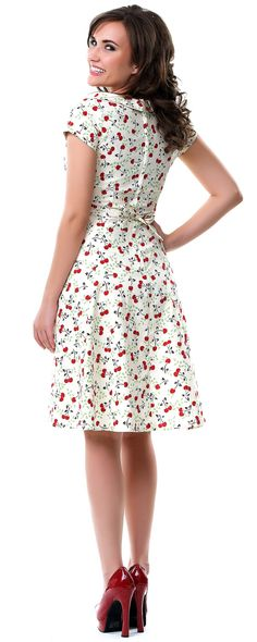 3b93e5d5426e Heartbreaker 50 s Style Cerise Ivory Cherry Print Beverly Dress - Unique  Vintage - Prom dresses