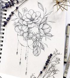 Com Art & Inspiration & Tattoos Mandala Arm Tattoo, Mandala Tattoo Design, Tattoo Sketches, Tattoo Drawings, Flower Tattoos, Small Tattoos, Inspiration Tattoos, Floral Tattoo Design, Tattoo Project