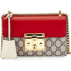 Gucci Padlock GG Supreme Small Shoulder Bag ($1,650) ❤ liked on Polyvore featuring bags, handbags, shoulder bags, canvas purse, gucci, red shoulder bag, gucci shoulder bag and gucci purses