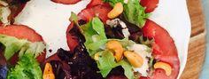 Salade met rosbief, cashewnoten en truffel