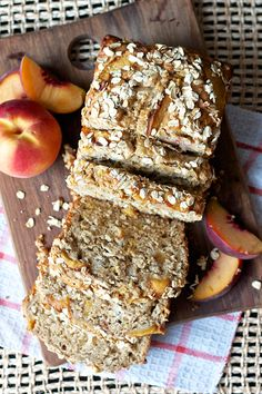 Peaches and Cream Bread ~T~ This has a cream cheese layer and a oat topping. I used Greek yogurt instead of sour cream to cut the fat content.