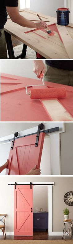 This rustic sliding barn door is as functional as it is stylish. Use a fresh coat of BEHR Paint in your favorite color to make this easy project fit in with the rest of your home's design style. Home Improvement Projects, Home Projects, Diy Furniture, Painted Doors, Home Improvement, Diy Home Decor, Diy Barn Door, Home Decor, House Interior