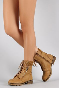 Bamboo Sweater Cuff Combat Ankle Lug Boots