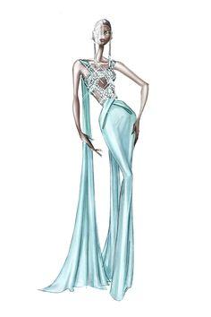 Couture Fashion, Fashion Art, Fashion Models, Fashion Show, Vintage Fashion, Ralph & Russo, Fashion Design Drawings, Fashion Sketches, Fashion Illustration Dresses