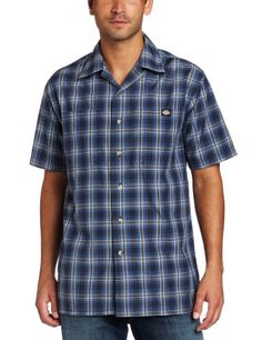 dcfdd12d7f Dickies Men s Short Sleeve Plaid Camp Shirt