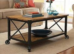 Rustic Coffee Table Country Style Furniture Cocktail Table With Wheels Modern #ContemporaryCoffeeTable #Country #coffee