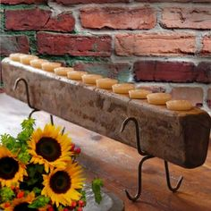 Sugar mold candle holder...such a lovely rustic touch.