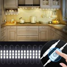 Kitchen Lighting, Kitchen Cabinets LED Lights with Smart Touch Dimmer,Under Cabinet 60 Leds Closet Kitchen Counter LED light (White) Wardrobe Lighting, Closet Lighting, Living Room Lighting, Kitchen Lighting, Bookshelf Lighting, Bookshelf Desk, Linear Lighting, Strip Lighting, Led Under Cabinet Lighting
