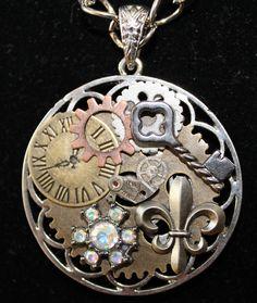 SOLD!!   Steampunk fleur de lis necklace.