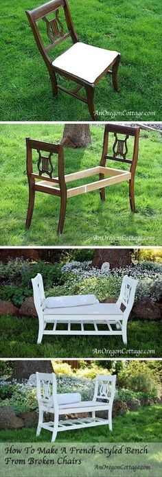 DIY Bench From Broken ChairsDIY Bench From Broken ChairsOld Chairs into New Old Chairs into New BenchDIY French-style bench from broken chairsDIY French-style bench from broken DIY Dining Room Decor Ideas - Furniture, Diy Furniture Hacks, Unusual Furniture, Diy Garden Furniture, Repurposed Furniture, Furniture Decor, French Furniture, Bedroom Furniture, Reupholster Furniture, Furniture Shopping