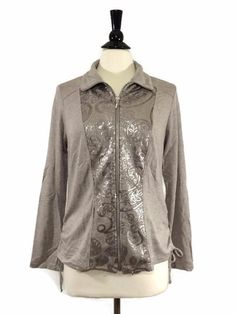 NEW CHICO'S $119 ZENERGY RETREAT Sequined Jacket Womens Top Taupe zip-up NWT…