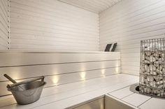A nice, bright & cosy sauna Sauna Steam Room, Sauna Room, Mini Sauna, Sauna Lights, Outdoor Sauna, Sauna Design, Finnish Sauna, Spa Rooms, Infrared Sauna