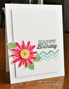 Flower Patch Birthday Card. Love the white on white layers and simple design!
