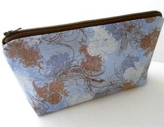 Rare Blue Urban Couture Flat Bottom Cosmetic Bag Zipper Pouch ECO Friendly Padded by JPATPURSES