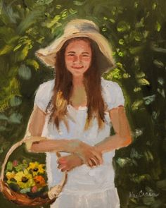 Young lady in a garden by Missouri Artist Kay Crain, painting by artist Kay Crain