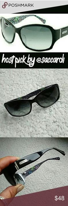 COACH Peony Sunglasses COACH Peony Sunglasses  Super cute black sunglasses with silver accents A few scratches (not deep) on left lens ⭐⭐⭐⭐I do not feel as if they effect vision⭐⭐⭐⭐ Otherwise in excellent condition Coach Accessories Sunglasses