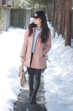 pink coat & leather leggings