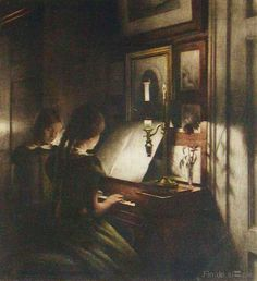 Two girls by the pianet, 1911 Color mezzotint af Peter Ilsted