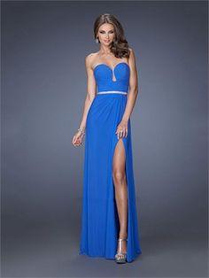 Sheath/Column Plunging Neckline High Slit Chiffon Prom Dress PD1262 www.homecomingstore.com $178.0000