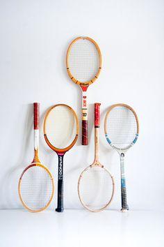 Vintage Tennis Racket via BrightWallVintage on Etsy, 25.00