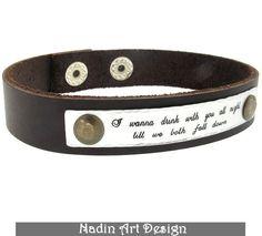 Zitat Armband. Herren-Armband mit Gravur. Geschenk von NadinArtDesign auf DaWanda.com