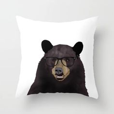 Hipster Bear Throw Pillow by Zaqory - Cover x with pillow insert - Indoor Pillow Couch Pillows, Down Pillows, Black Bear, Brown Bear, Bear App, Bear Drawing, Designer Throw Pillows, Pillow Design, Cute Gifts