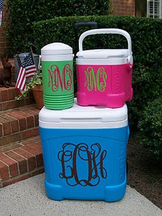 Personalized coolers with vinyl sticker.