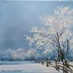 Winter Landscape Snow Covered Trees And Fence Easy Oil Painting Ideas For Beginners