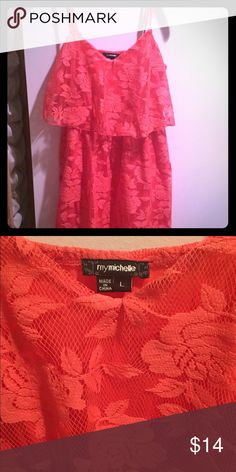 Coral color! Coral color. lace rose pattern. Coral underlay with stretch to it. Gorgeous piece! 30% off bundles of 2 or more listings from my closet😊. My Michelle Dresses Mini