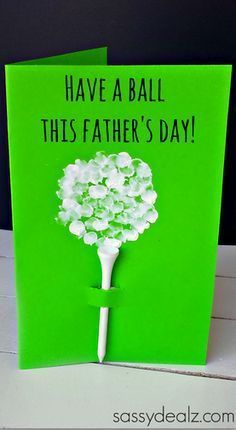 Fingerprint Golf Ball Father's Day Card gift clever fathers day gifts, cricut fathers day cards, diy ideas for fathers day Diy Father's Day Gifts Easy, Father's Day Diy, Fathers Day Crafts, Happy Fathers Day, Cheap Fathers Day Gifts, Kid Crafts, Golfball, Daddy Day, Daddy Gifts