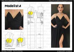 ModelistA Diy Clothing, Sewing Clothes, Clothing Patterns, Fashion Sewing, Diy Fashion, Ideias Fashion, Costura Fashion, Evening Dress Patterns, Modelista