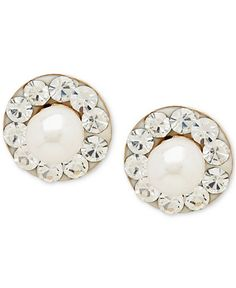 Cultured Freshwater Pearl (3mm) and Cubic Zirconia Stud Earrings in 14k Gold