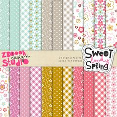 Sweet Lovely Spring Papers - lovely set of 22 digital papers in stylish color combination with summer floral designs, this set can be used as embellishments for invitations, cards, stationery, scrapbooking etc.