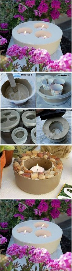 Kreative Deko selber machen - Kerzenhalter - DIY / how to make beautiful candle holders with concrete ♥ Best Picture For diy manualidades Fo - Concrete Crafts, Concrete Planters, Garden Planters, Concrete Candle Holders, Diy Candle Holders, Creation Deco, Ideias Diy, Beautiful Candles, Diy Candles
