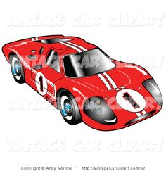 Clipart of Front of the Red 1967 Ford Mark IV GT40 Racing Car with White Stripes and the Number 1