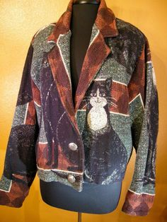 PAINTED PONY VTG  CATS Tapestry Jacket Black Brown Rust One Size Cotton EUC #PaintedPony #TapestryJacket