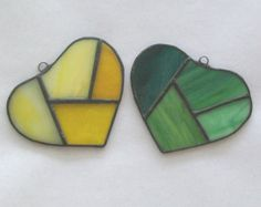 2 Patchwork hearts set stained glass suncatcher pieced glass hearts