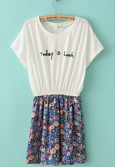 White Short Sleeve Today's Look Print Floral Dress US$23.11