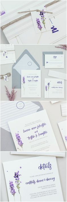 Modern Rustic Lavender Wedding Invitations by B.designs Paper. Watercolor Lavender Wedding Invitations, Purple Floral Wedding Invitations,
