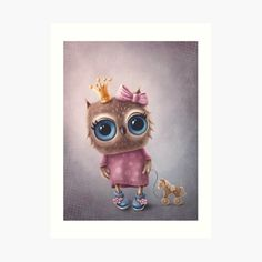 Cute Owl, Art Girl, My Arts, Art Prints, Printed, Awesome, Unique, Illustration, Fictional Characters