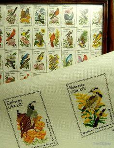 Cross stitch bird postage stamps