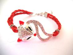SOLD Silver and Red Fox Bracelet Silver & by TerriJeansAdornments