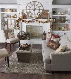 Your living room is a place where your friends and family come together to enjoy time with each other. Decorate your living room for fall to create an even cozier, warmer and more welcoming place for your loved ones! Add adorable throw pillows, festive mantel decor and sparkling lights to create the perfect atmosphere!