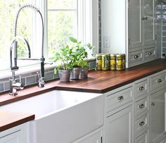 Kitchen, Comely White Kitchen Set With Farmhouse Sink And Stainless Steel Faucet Plus Wood Kitchen Countertop ~ Wonderful Mahogany Wooden Kitchen Countertop Wooden Countertops, Butcher Block Countertops, Butcher Blocks, Dark Countertops, New Kitchen, Kitchen Decor, Kitchen Wood, Kitchen Grey, Kitchen Sink