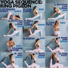 """YOGA SEQUENCE: One Legged King Pigeon or Eka Pada Raja Kapotasana Warm up: previous post """"back bending warm up: Chandra Namaskar"""" under #productofpatiencesequence  1. EXTENDED PUPPY Keep elbows shoulder width  So good for thoracic & shoulders 2. LOW LUNGE Opening the quads will take stress out of the lower back, so low lunge is essential  3. REVERSE LOW LUNGE This will twist the spine as well as stretch the side body which will aid in making back bends much easier  4. REVOLVED REVERSE LOW…"""
