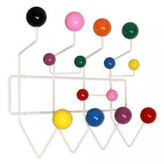 This style Eames inspired retro coat rack is both a playful and practical homeware product for the entrance hall.The design idea is on the lines of one of an original children's range of products designed by Charles and Ray Eames in more → Charles Eames, Ray Charles, Coat Hanger, Coat Hooks, Wall Hanger, Wall Hooks, Hangers, Clothes Hanger, Gumball