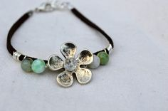 Items similar to Brown Soft Suede Bracelet, Chrysoprase Bracelet, Flower Charm Bracelet, Semi Precious Stone Bracelet, Beaded Bracelet for Everyday Wear on Etsy Suede Bracelet, Handmade Bracelets, Handmade Gifts, Soft Suede, Alex And Ani Charms, Trending Outfits, Brown, Unique Jewelry, Etsy