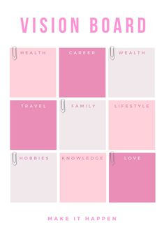 Vision board templates always help with the creation process #visionboards #pink #templates Vision Board Template, Digital Vision Board, Vision Board Ideas Diy, Goal Board, Goals Planner, Work Planner, Financial Planner, Life Planner, Creating A Vision Board