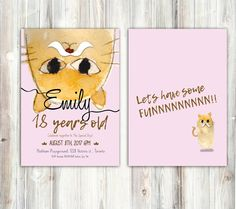 Cat drawing, big cat, yellow cat - Cat Mustache Birthday Invitation - Any age - Watercolor Folk Tale - Printable - Back optional by miHappyDay on Etsy